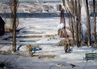 A Morning Snow, Hudson River painting reproduction, George Wesley Bellows