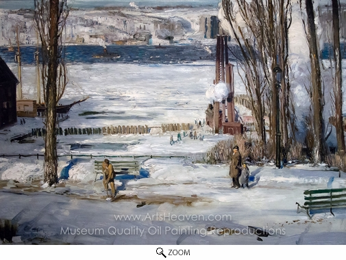 George Wesley Bellows, A Morning Snow, Hudson River oil painting reproduction