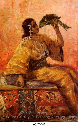 Charlet Frantz, A Moroccan Beauty Holding a Parrot oil painting reproduction