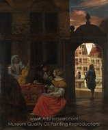 A Musical Party in a Courtyard painting reproduction, Pieter De Hooch
