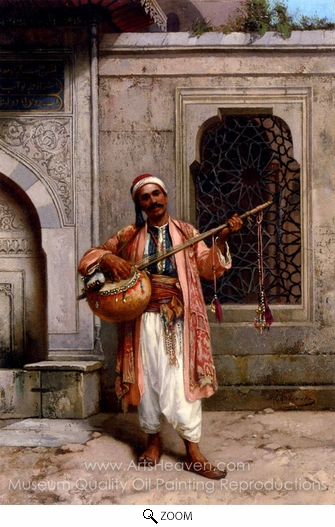 Stanislaus Chlebowski, A Musician Playing Before a Mosque in Constantinople oil painting reproduction