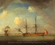 A Naval Snow painting reproduction, Charles Brooking