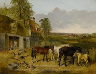 A Peaceful Farmstead painting reproduction, John Frederick Herring Sr.
