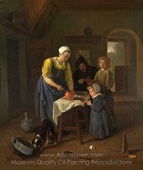 A Peasant Family at Meal-Time (Grace Before Meat) painting reproduction, Jan Steen