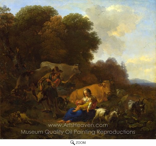 Nicolaes Berchem, A Peasant Playing a Hurdy-Gurdy to a Woman and Child oil painting reproduction