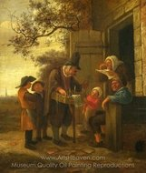 A Pedlar Selling Spectacles Outside a Cottage painting reproduction, Jan Steen