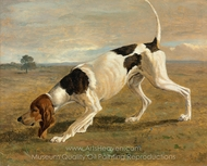 A Pointer in a Landscape painting reproduction, Jacques Laurent Agasse