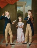 A Portrait of a Young Girl and Two Young Boys in a House Concert painting reproduction, Antoine Jean Gros