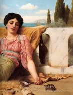 A Quiet Pet painting reproduction, John William Godward