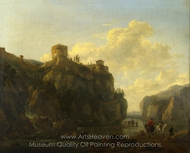 A River Between Rocky Cliffs painting reproduction, Lodewijck Van Ludick