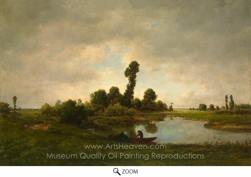 Theodore Rousseau, A River Landscape oil painting reproduction