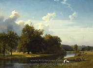 A River Landscape, Westphalia painting reproduction, Albert Bierstadt