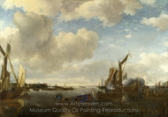 A River Scene with a Dutch Yacht Firing a Salute painting reproduction, Jan Van De Cappelle