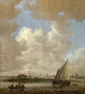 A River Scene, with a Hut on an Island painting reproduction, Jan Van Goyen