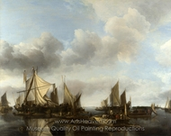 A River Scene with a Large Ferry painting reproduction, Jan Van De Cappelle