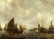 A River Scene with Dutch Vessels Becalmed painting reproduction, Jan Van De Cappelle