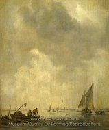 A River Scene, with Fishermen Laying a Net painting reproduction, Jan Van Goyen