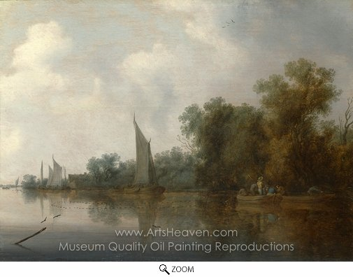 Salomon Van Ruysdael, A River with Fishermen Drawing a Net oil painting reproduction