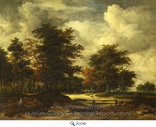 Jacob Van Ruisdael, A Road Leading into a Wood oil painting reproduction