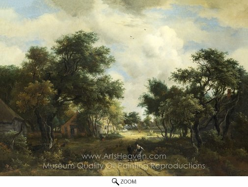 Meindert Hobbema, A Road Winding Past Cottages oil painting reproduction