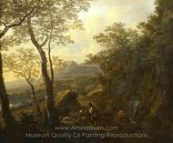 A Rocky Italian Landscape with Herdsmen and Muleteers painting reproduction, Jan Both