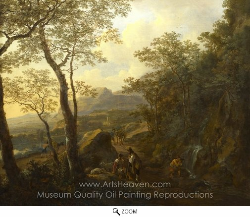 Jan Both, A Rocky Italian Landscape with Herdsmen and Muleteers oil painting reproduction