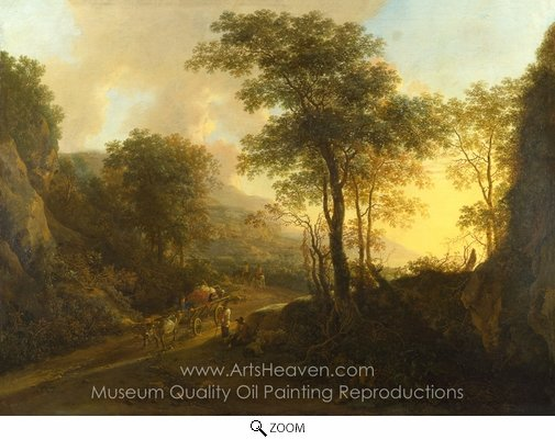 Jan Both, A Rocky Landscape with an Ox-cart oil painting reproduction