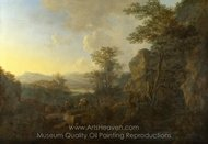 A Rocky Landscape with Peasants and Pack Mules painting reproduction, Jan Both