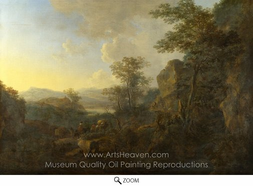 Jan Both, A Rocky Landscape with Peasants and Pack Mules oil painting reproduction