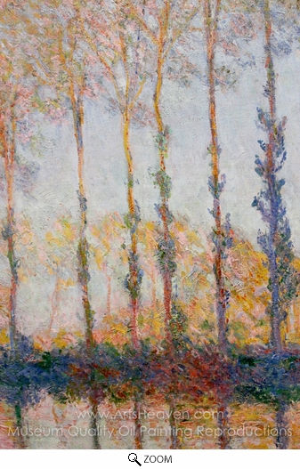 Claude Monet, A Row of Poplars oil painting reproduction