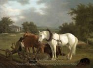 A Rural Landscape with a Ploughman Resting with his Grey Horse, Cattle and Dog painting reproduction, Jacques Laurent Agasse