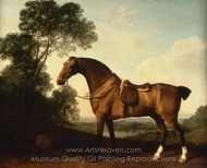 A Saddled Bay Hunter painting reproduction, George Stubbs