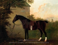 A Saddled Bay Hunter by a Stable Wall painting reproduction, John Boultbee