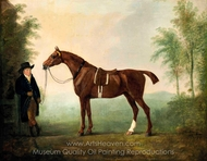 A Saddled Chestnut Hunter and Groom painting reproduction, John Boultbee
