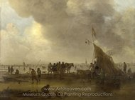 A Scene on the Ice painting reproduction, Jan Van Goyen