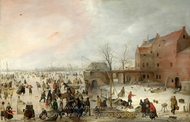 A Scene on the Ice Near a Town painting reproduction, Hendrick Avercamp