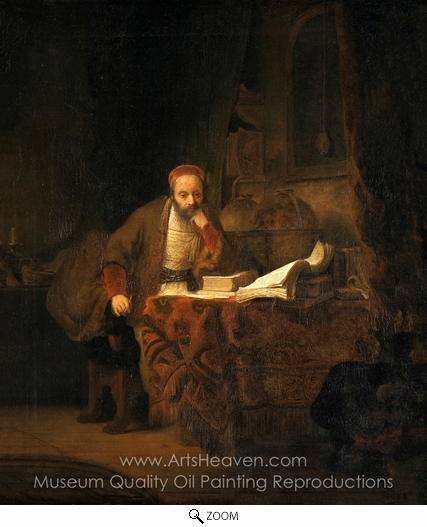 Rembrandt Van Rijn, A Scholar in His Study oil painting reproduction