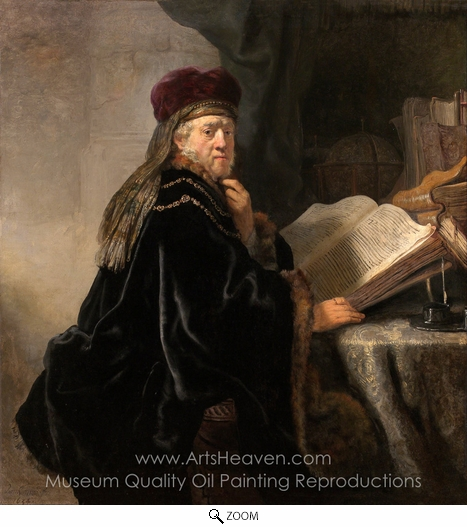 Rembrandt Van Rijn, A Scholar Seated at a Desk oil painting reproduction