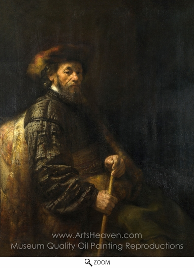 Rembrandt Van Rijn, A Seated Man with a Stick oil painting reproduction