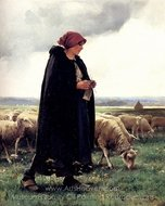 A Shepherdess with Her Flock painting reproduction, Julien Dupre