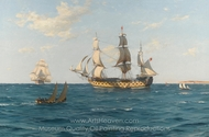 A Ship of the Line 100 Years Ago painting reproduction, Thomas Jacques Somerscales