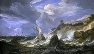 A Ship Wrecked in a Storm off a Rocky Coast painting reproduction, Pieter Mulier