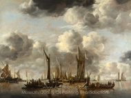 A Shipping Scene with a Dutch Yacht Firing a Salute painting reproduction, Jan Van De Cappelle