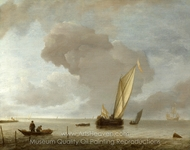 A Small Dutch Vessel Before a Light Breeze painting reproduction, Jan Van De Cappelle