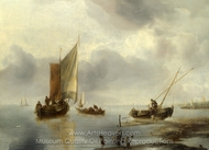 A Small Vessel in Light Airs, and Another Ashore painting reproduction, Jan Van De Cappelle