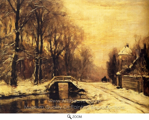 Louis Apol, A Snow Covered Forest with a Bridge Across a Stream oil painting reproduction
