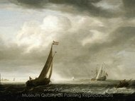 A Squally Day in a Dutch Estuary painting reproduction, Simon De Vlieger