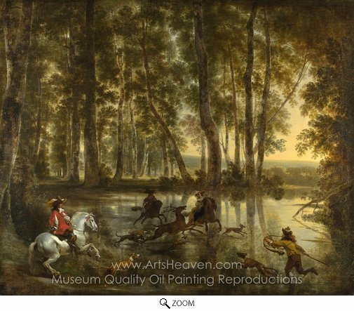 Nicolaes Berchem, A Stag Hunt in a Forest oil painting reproduction