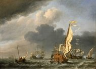 A States Yacht in a Fresh Breeze Running Towards a Group of Dutch Ships painting reproduction, Willem Van De Velde