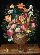 A Still Life of Flowers in a Sculpted Vase painting reproduction, Frans Francken
